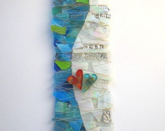 Art Glass Sculpture - At Last - in White, Clear Turquoise and Blues
