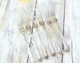 Antique Sterling Silver Strawberry Forks by Dominick and Haff, Set of Six