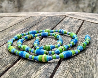 Handmade necklace with blue - green - yellow - black recycled paper, blue and green glass beads