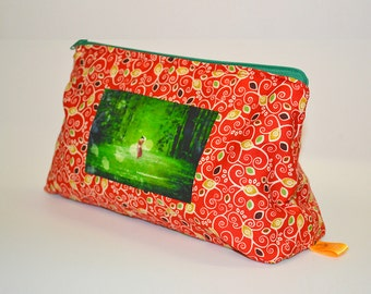 Cosmetic bag,  Make up bag, Gift for her, Unique handmade Pouch, Utility pouch