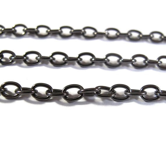 Black Cable Chain, 10 Feet of Gunmetal Heavy Chain, Footage Chain, 4.6mm Dark Chain for Jewelry Making, Strong Chain (GM40099199)