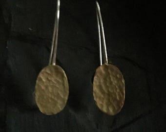 Brass & Silver Threader Earrings, Long Threader Earrings, Minimal Earrings, Modern Design, Silver Earrings, Geometric Earrings, Oval Shape