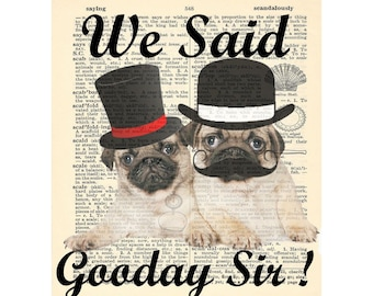 Fathers Day Birthday gift Graduation Pugs with hats Gift for girlfriend college dorm Office Gift Boyfriend gift , christmas