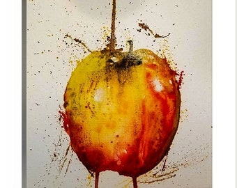 Abstact Apple Original Watercolor Fine Art Print or canvas