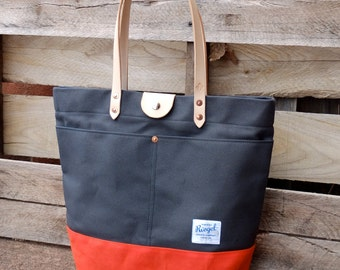 Waxed Canvas Tote Bag with Leather Handles and Snap Closure - Large Charcoal Gray & Orange Color Blocked Tote Perfect for Everyday or Travel