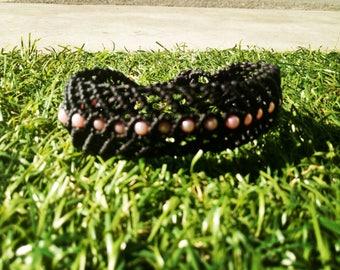 Black Macrame bracelet in Fischgretenoptik