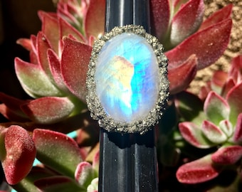 Rainbow Moonstone and Pyrite Ring.