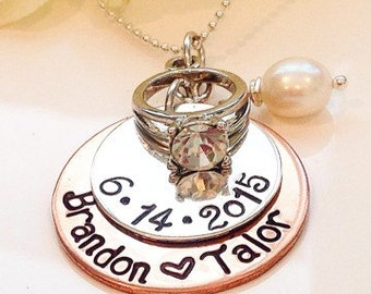 Bling Bling Ring Wedding/Anniversary  Handstamped with Couples Names and Date of Marriage Necklace