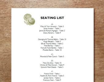 Printable Seating List - Wedding Seating List Template - Instant Download - Seating Chart PDF - Vintage Thistle - Vintage Botanical Chart