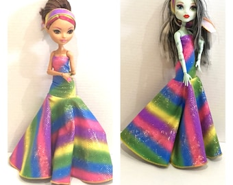 Rainbow Bright Dress and Headband made to fit Articulated Monster High Dolls / Ever After High Dolls - Handmade Doll Clothes