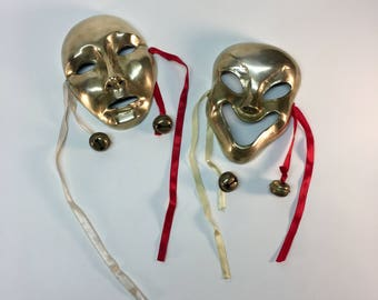 Brass Grecian Comedy And Tragedy Theater Masks