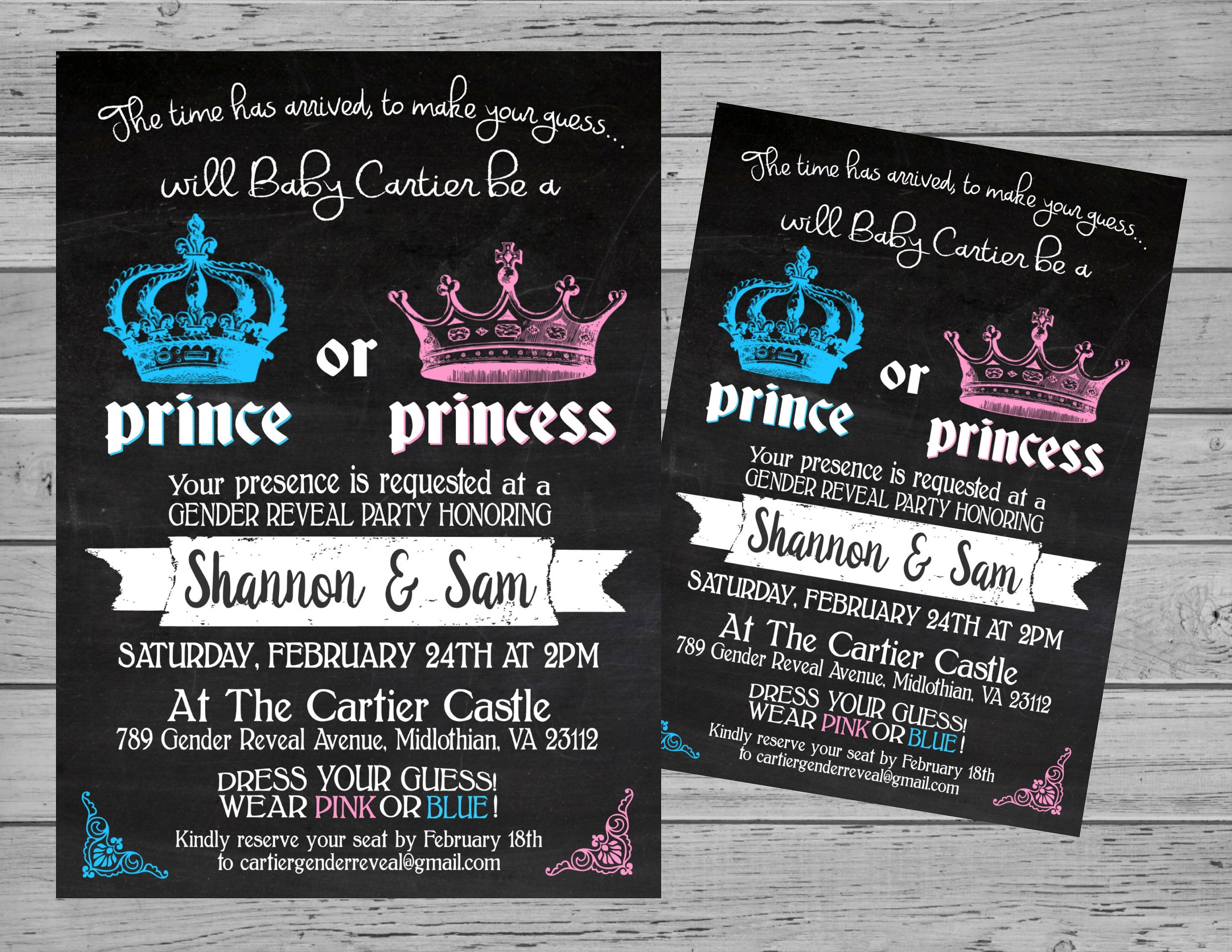 Prince or Princess Gender Reveal Party Invitation Digital