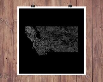 Montana Roads High Resolution Digital Print / Map of Montana / Montana Print / Montana Wall Art / Montana Poster / Montana Map Art