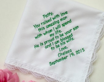 Personalized Wedding Gift For Mother Of Groom-Best Idea Gift-Customized- Embroidered-Free Wedding Handkerchief Gift Box