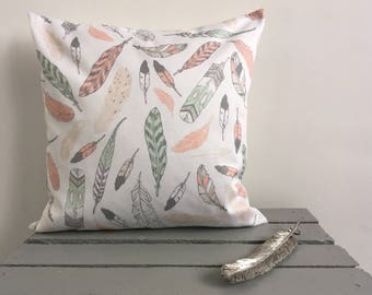 Feather Print Cushion-Pink And Green Feather Cushion Cover-Feather Cushion