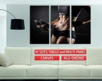 Workout girl abs gym Wall Art Home Wall Decor Canvas Print Wall Poster sports Giclee Print Split art Large Print Canvas Alternative