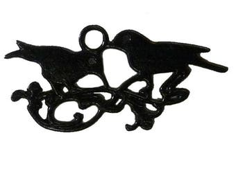 3 charms bird black pendant bird couple on a branch for jewelry making