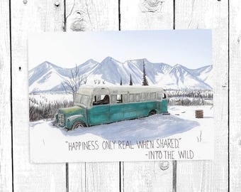 Into the wild inspirational postcard Quote Postcard Landscape Postcard Watercolor Postcard Painting Postcard Magic Bus Postcard Postcard set