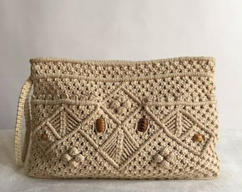 Natural Ecru Crochet and Wood Bead Wristlet Handbag