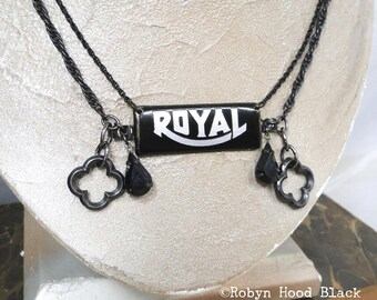 Royal Necklace - Upcycled Vintage Typewriter Plate and Black Drops