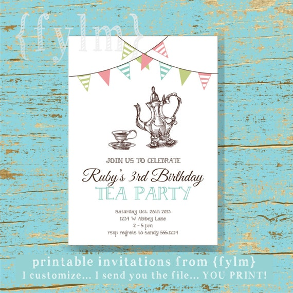 Invitaciones para imprimir de TEA Party diseño te