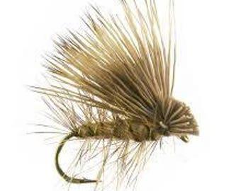 Fishing Flies - 4 Elk Hair Caddis - Olive - Sizes 14, 16, 18, 20