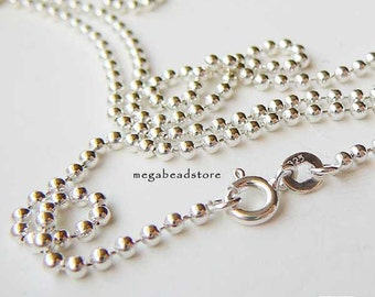 36 inch 2mm Bead Chain 925 Sterling Silver Ball Chain Necklace FC22