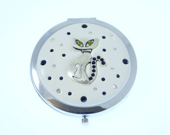 Jeweled Cat Compact Mirror