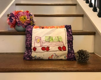 Custom Embroidered Patchwork Pillow