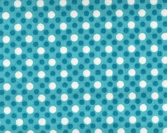 Turquoise Dim Dot White Polka Dots Michael Miller #5320 By the Yard