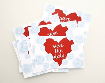 12 Save the Date Postcards - Red Heart with Blue Flowers