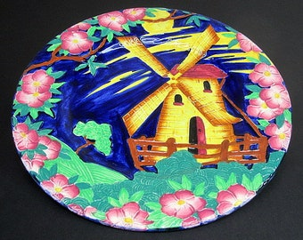 Maling Dutch Windmill Tubelined Majolica Service Plate Charger c1947