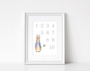 Peter Rabbit Numbers, 123, Nursery, Childrens Print
