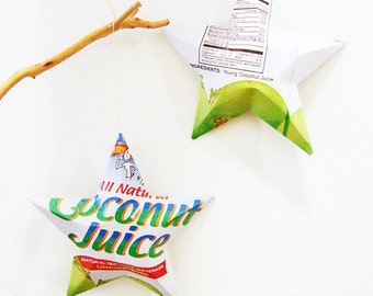 Amy & Brian Coconut Juice Stars, Christmas Ornaments, Aluminum Can Upcycled, Coconut Water, Shooting star