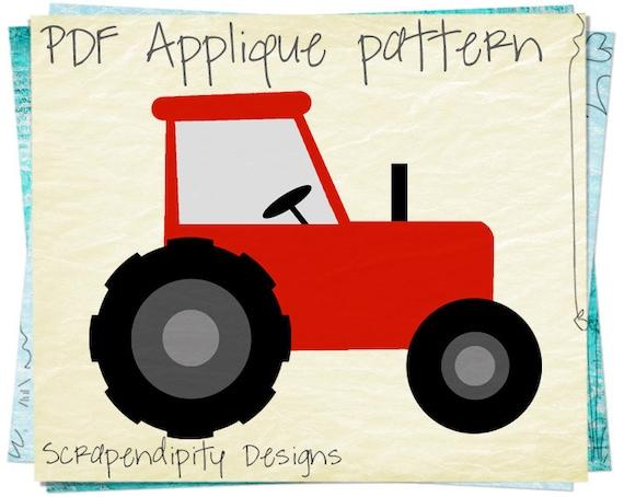 Farm Applique Pattern Birthday Tractor Applique Template
