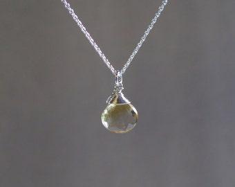 Citrine Necklace - Sterling Silver or Gold Filled - Natural Citrine Crystal - November Birthstone Necklace - Faceted Heart Citrine
