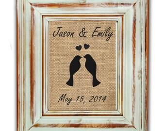 Love Birds Print / Wedding Gift / Housewarming Gift / Love Birds Burlap / Burlap Wedding Decor / Rustic Wedding Gift / Monogram Wedding