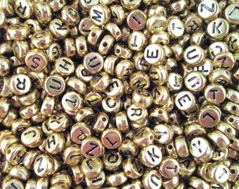 100 Gold and Black 7mm Alphabet Beads, Acrylic Metallic Letter Beads J6