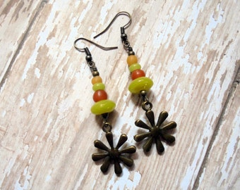 Golden Yellow, Pumpkin Orange and Lime Green Flower Earrings (2494)