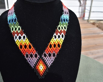 Huichol stitch bead woven necklace.
