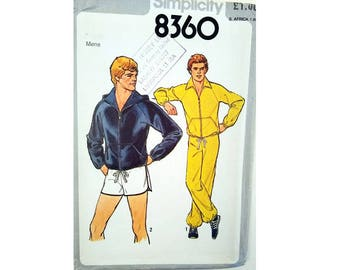 UNCUT Simplicity 8360 Vintage Men's Sportswear Jogging Sweat Pant, Shorts and Sweatshirt Top Jacket with / without Hood Sewing Pattern