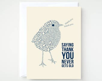 Thank You Card, Saying Thank You Typographic Bird