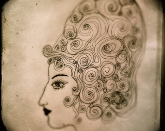 Aristocratic- Archival Print, Sepia Print, Vignette, Big Hair, Aristicrat, Vintage Inspired