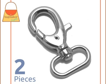 "1 Inch Swivel Snap Hooks, Nickel Finish, Lobster Claw, 2 Pieces, Handbag Purse Bag Making Hardware Supplies, 1"", SNP-AA004"