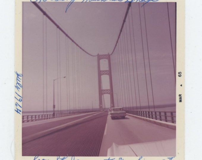 Crossing the Mackinac Bridge, 1964 Vintage Snapshot Photo [85676]