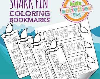 Printable Shark Fin Bookmarks