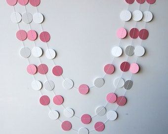 Pink & white baby shower decoration, Circle paper garland, Baptism, Sprinkle, Children birthday decor, Easter, Paper garland, KC-1035, TS