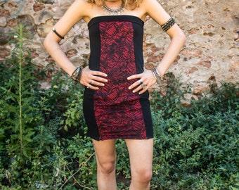 Ānandaṁ Dress - Slinky pencil off-the-shoulder teknival dress, red version