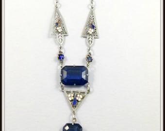 VINTAGE LAVALIER NECKLACE, Blue Glass Filigree Necklace, Art Deco Necklace, Vintage Jewelry