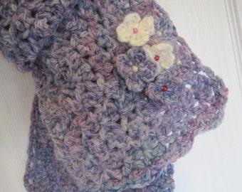 Free shipping   neckwarmer, crochet scarf, crochet neck warmer, hydrangea scarf,mother's day, crochet purple scarf, handmade scarf